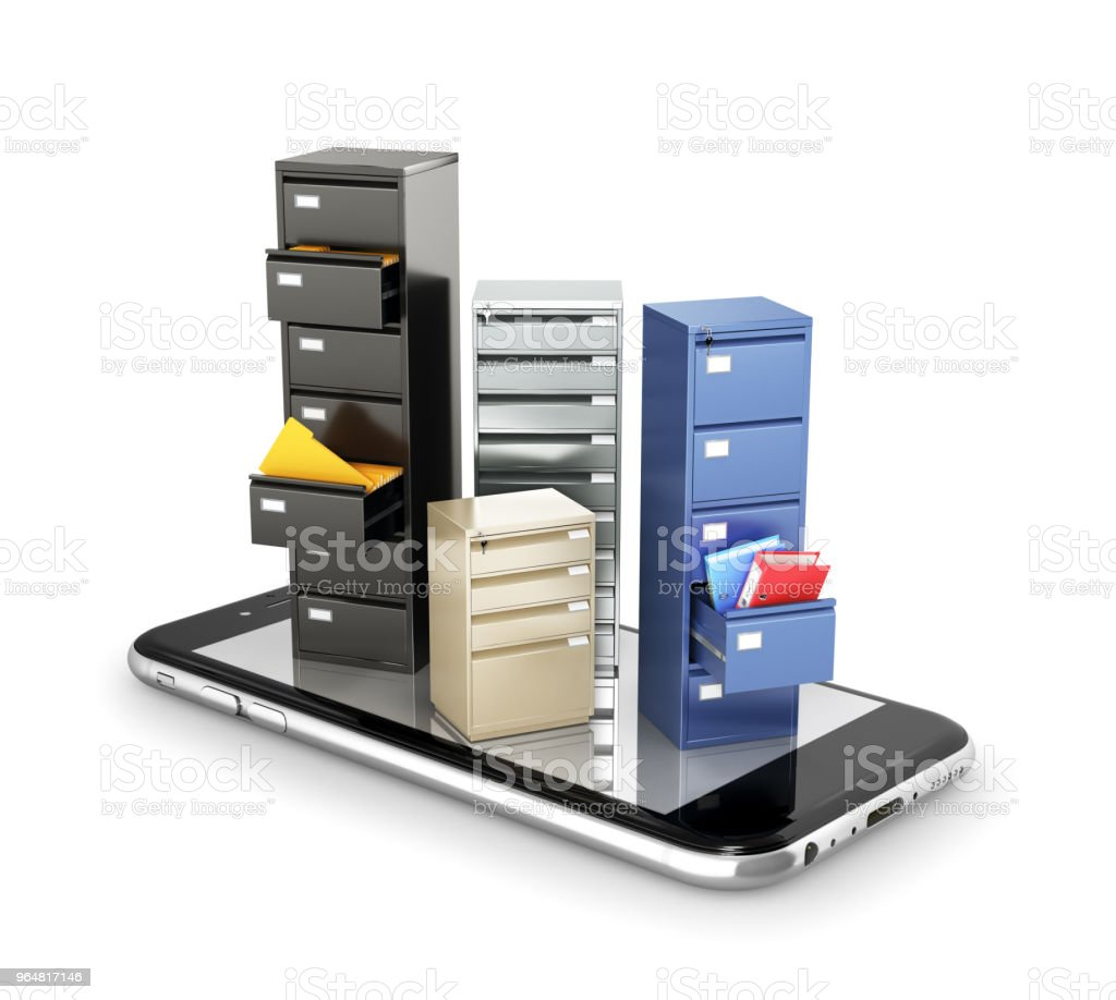 concept of storage. Lockers for data storage stand on the screen of the smartphone. Download files. 3d illustration royalty-free stock photo