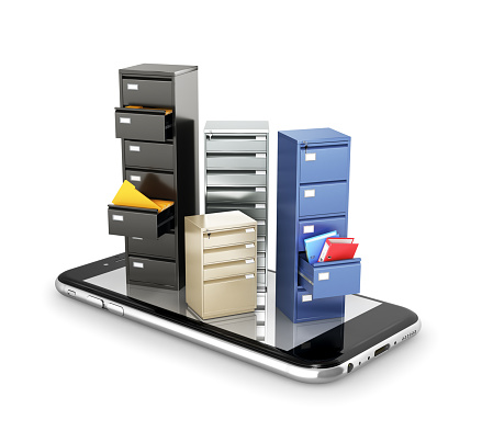 istock concept of storage. Lockers for data storage stand on the screen of the smartphone. Download files. 3d illustration 964817146