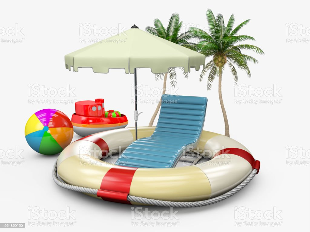 Concept of summer holiday with lifebuoy and beach accessories, 3d illustration royalty-free stock photo