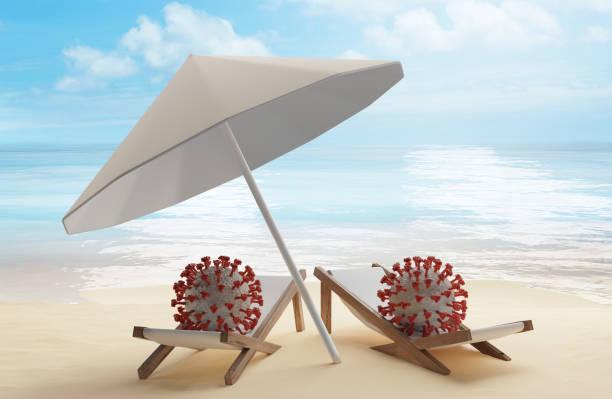 Konzept der Sommerreise und SARS-CoV-2 2019-ncov Coronavirus 3d-Illustration – Foto