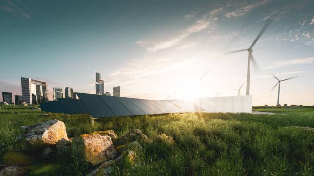 Konzept der nachhaltigen Energielösung in schöner Sonnenuntergang Hintergrundbeleuchtung. Rahmenlose Sonnenkollektoren, Batterie-Energiespeicher, Windkraftanlagen und Großstadt mit Skycrapers im Hintergrund. 3D-Rendering. – Foto