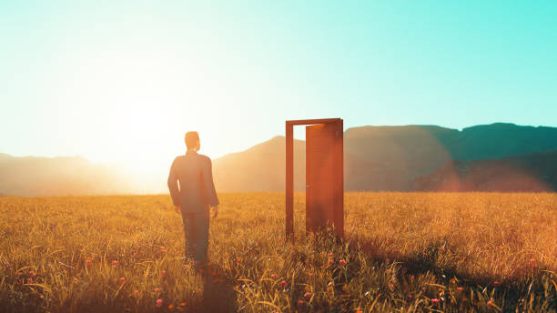 Concept of taking opportunities in life and walking through the open doors stock photo
