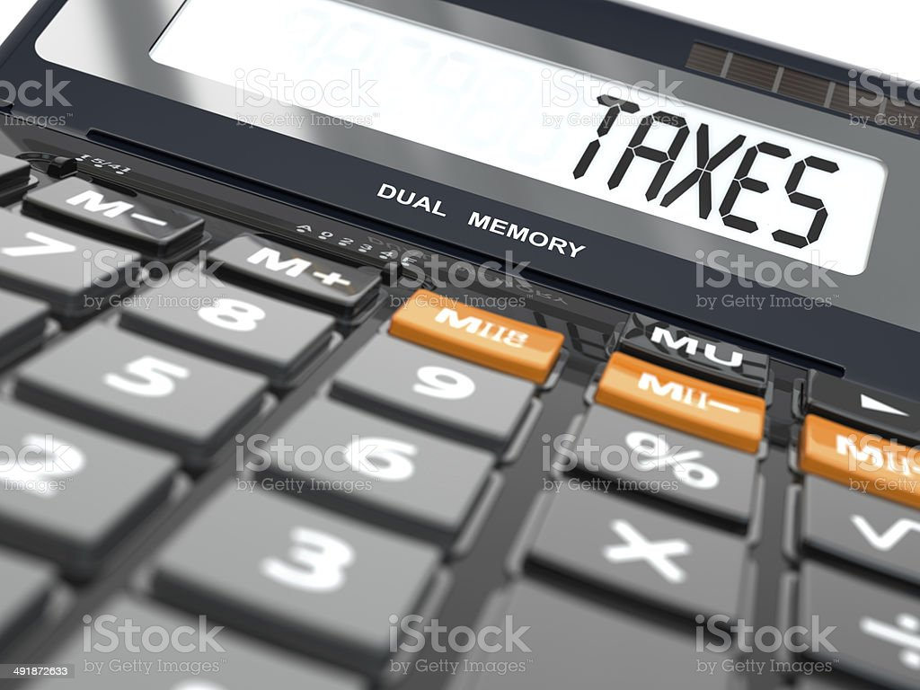 Concept of taxes calculation, Calculator stock photo