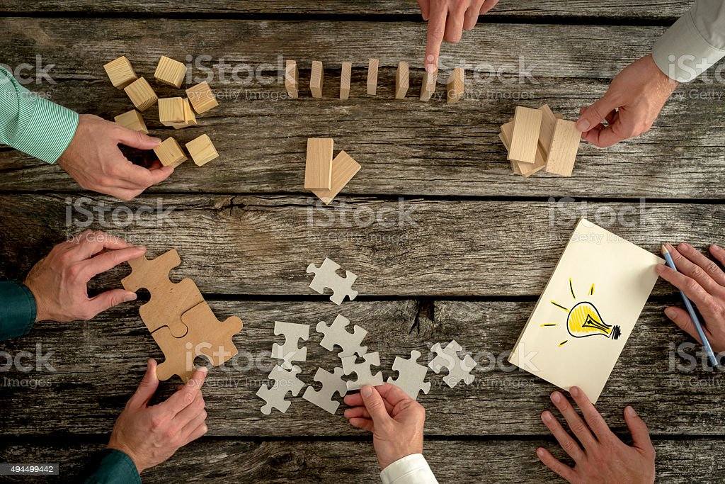 Concept of teamwork, strategy, vision or education stock photo