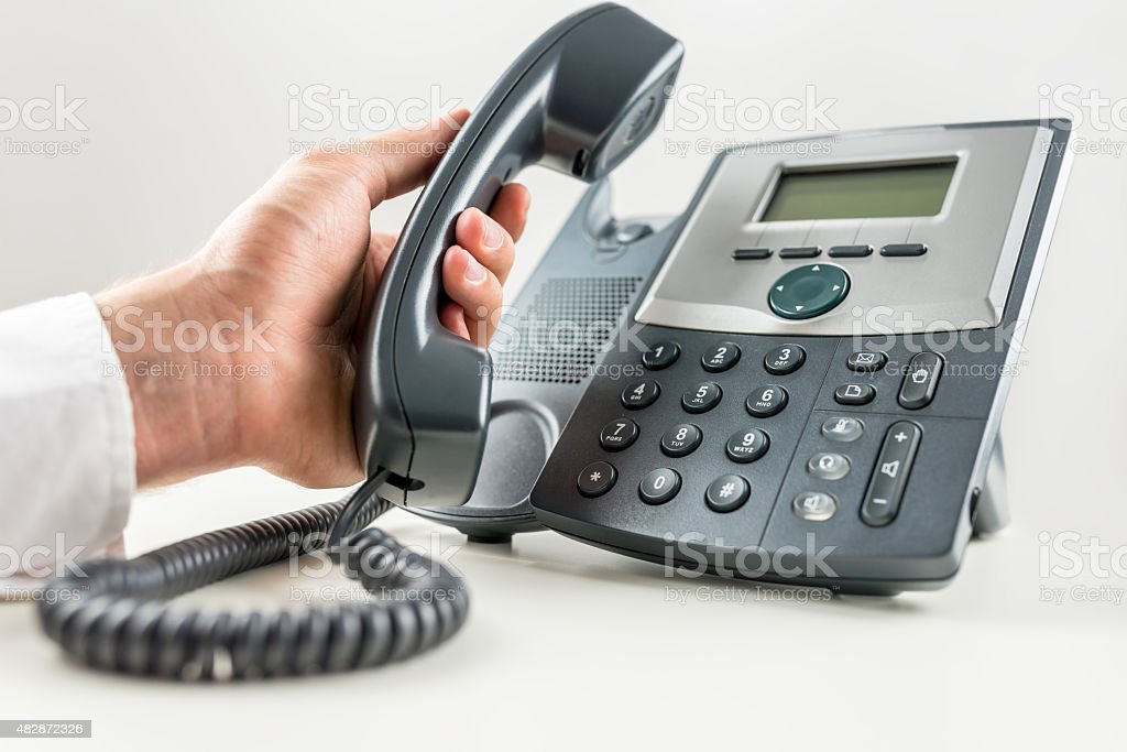 Concept of telemarketing and customer support stock photo