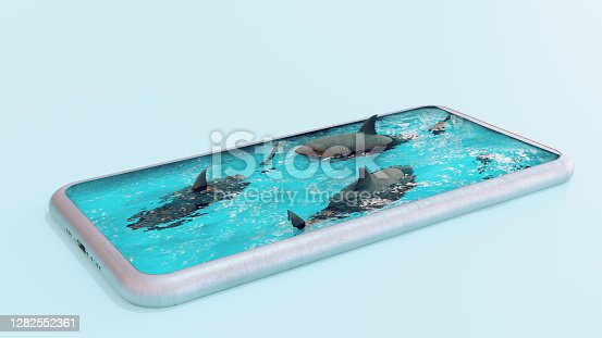 Concept image of a phone turned into a swimming pool full of sharks.