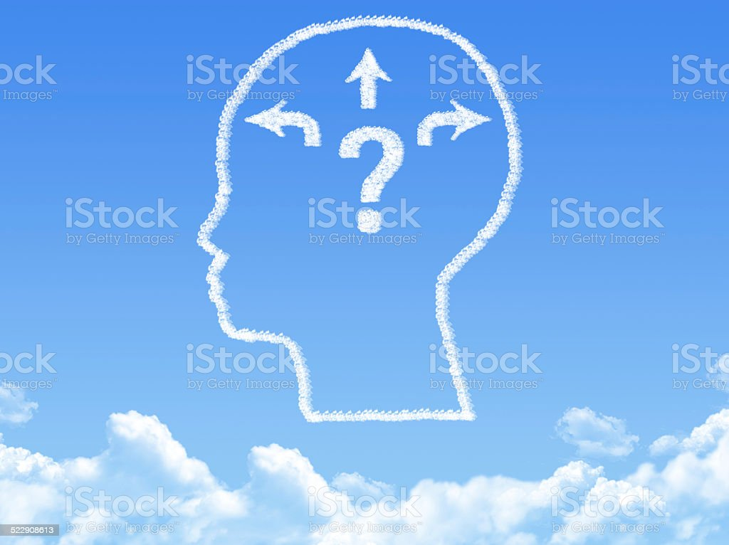 concept of the human body and the brain cloud shape stock photo