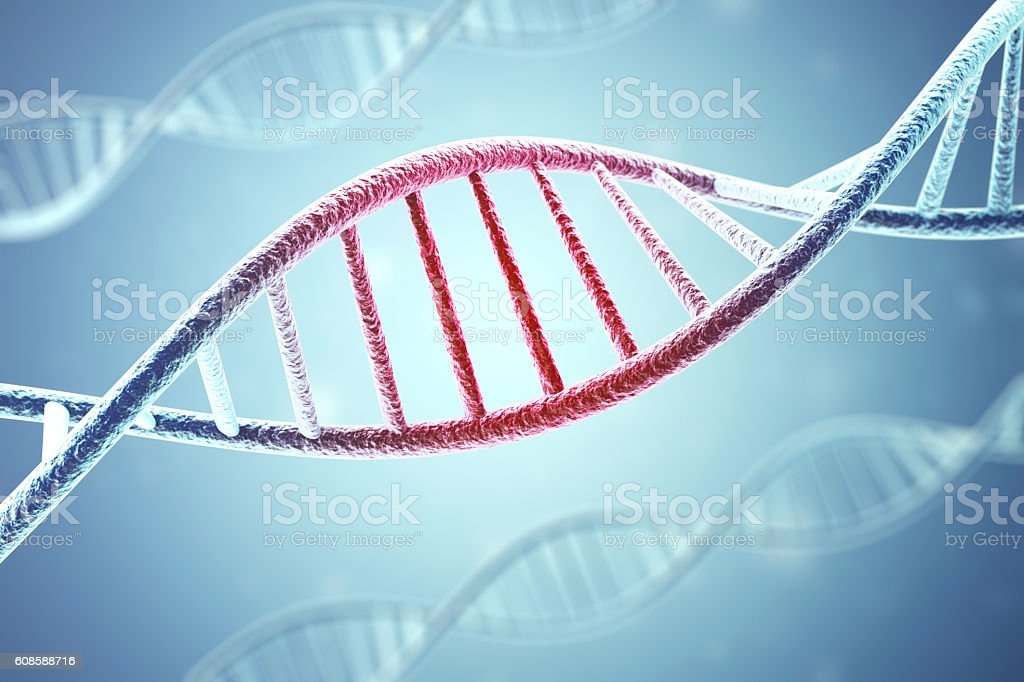 Concept of the infected, patient DNA structure on blue background stock photo