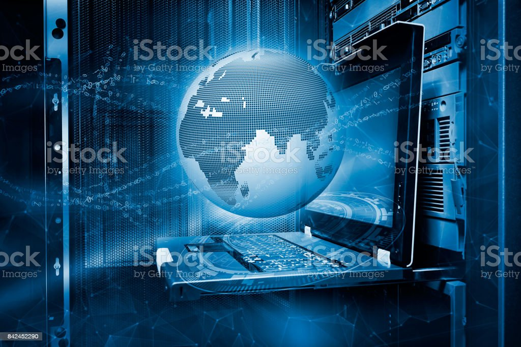 Concept of the planet earth surrounded by digital streams of waves with hologram on the background terminal control mainframe in data center ranks stock photo
