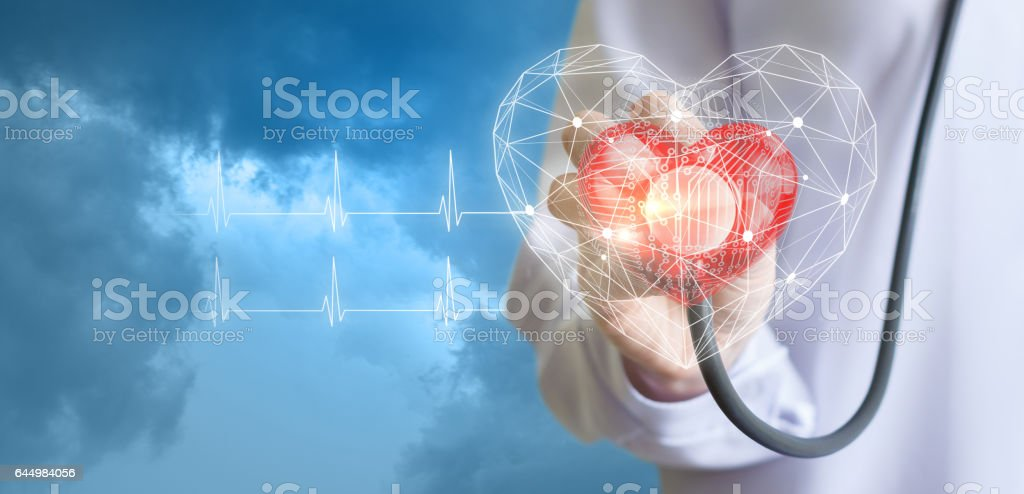 Concept of the technology of diagnostics of heart. stock photo