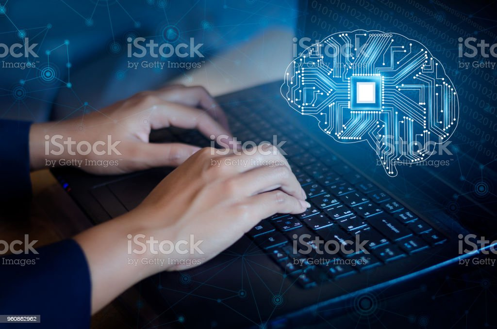 concept of thinking.background with brain CPU Mind series technology symbols  subject of computer science, artificial stock photo