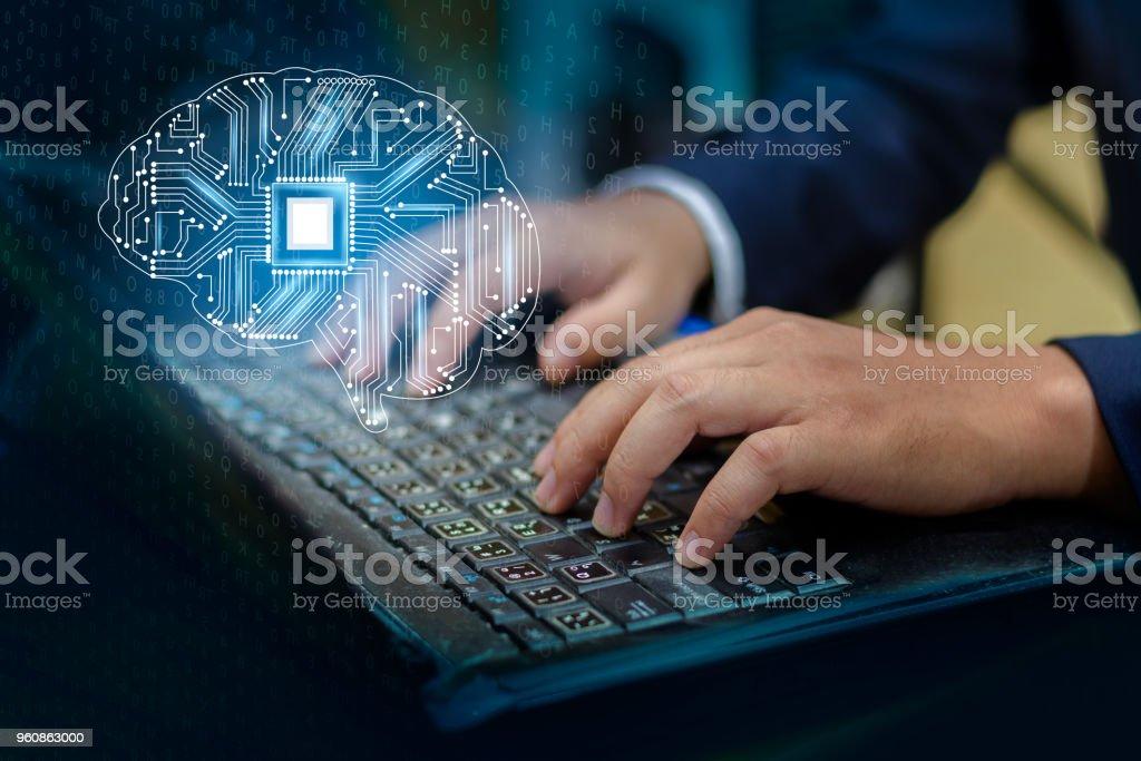 Konzept des thinking.background mit Gehirn CPU Geist Serie Technologie Symbole Thema der Informatik, künstliche - Lizenzfrei Betrachtung Stock-Foto