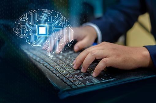 Konzept Des Thinkingbackground Mit Gehirn Cpu Geist Serie Technologie Symbole Thema Der Informatik Künstliche Stockfoto und mehr Bilder von Betrachtung