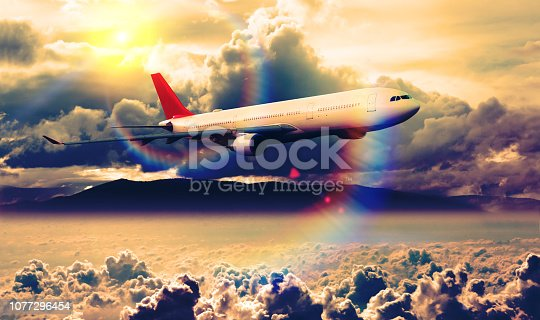 istock Concept of traveling by plane. 1077296454