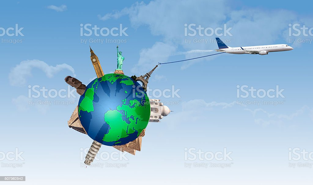 Concept of traveling by plane taking with important monuments stock photo