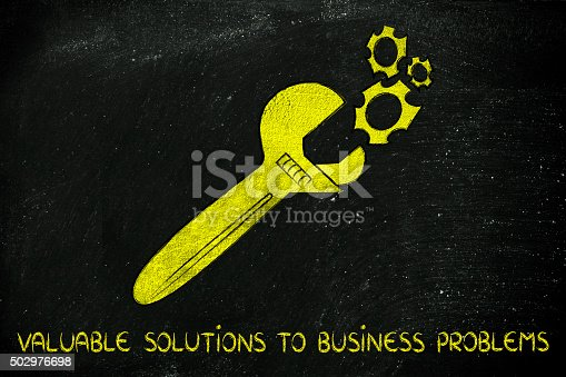 wrench made of gold repairing a mechanism, metaphor of valuable solutions to business problems