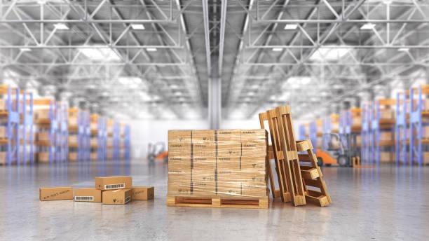 Concept d'entrepôt. Les cartons dans l'entrepôt de gros sur l'arrière-plan flou. illustration 3D - Photo