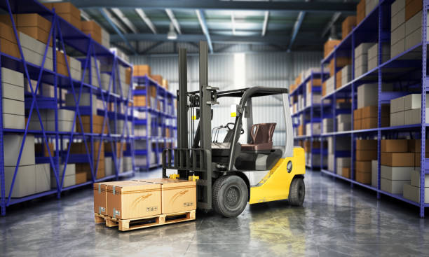 Concept of warehouse The forklift in the big warehouse delivery background 3d illustration stock photo