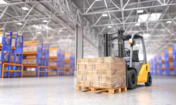 Concept of warehouse. The forklift in the big warehouse on blurred background. 3d illustration stock photo