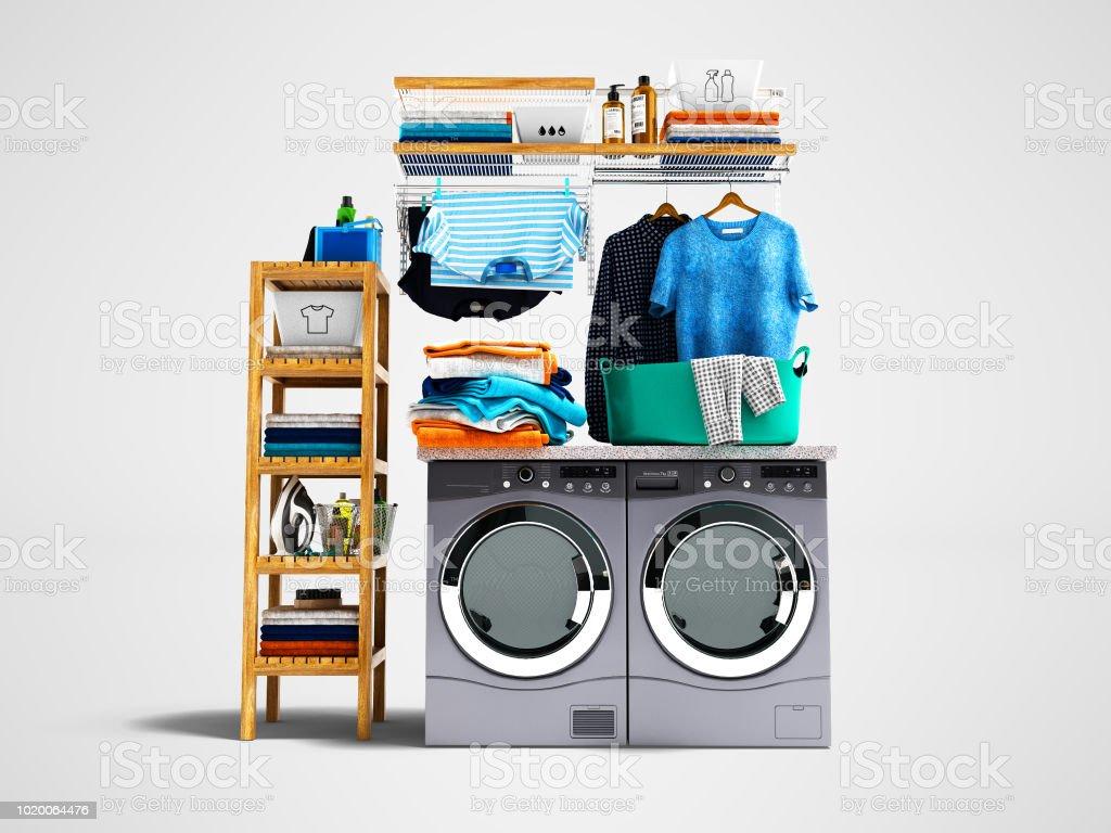 Lave Linge Couleur Gris photo libre de droit de concept de lavage lave linge et