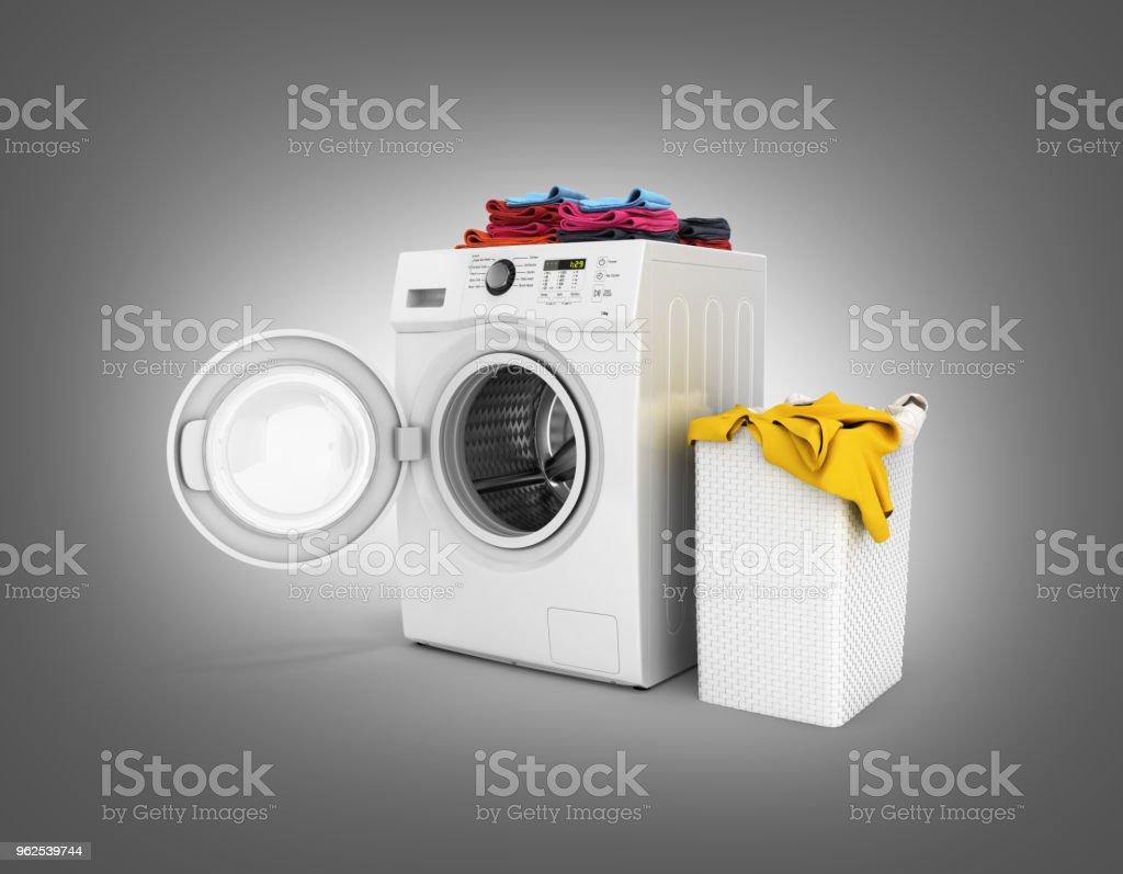 Conceito de lavagem da máquina de lavar roupa com toalhas coloridas e cesta de lavagem com roupa suja isolado em fundo gradiente preto renderização 3d - Foto de stock de Aberto royalty-free