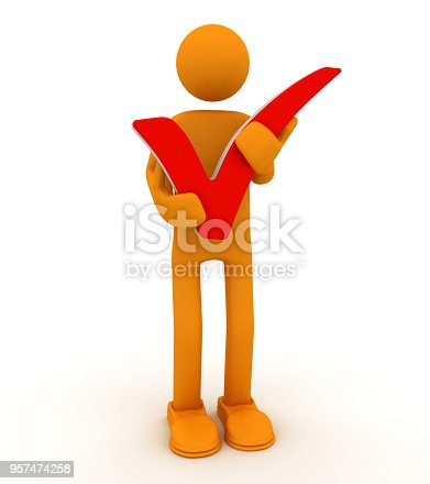 istock Concept of winner, man holds check mark 957474258