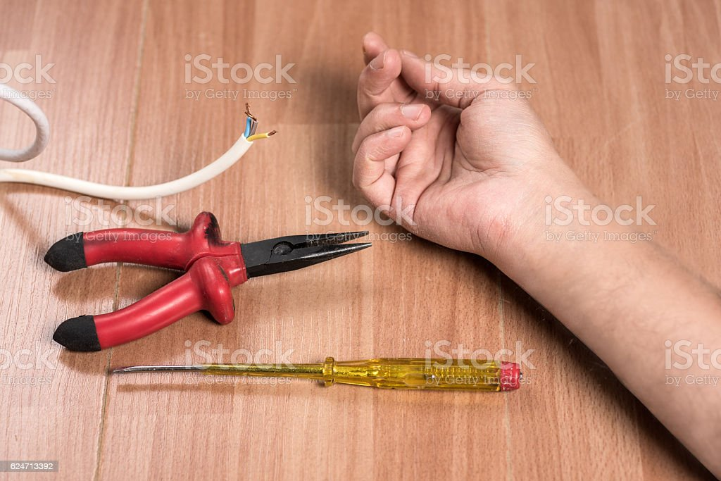 Concept of work accident and Electric Shock stock photo