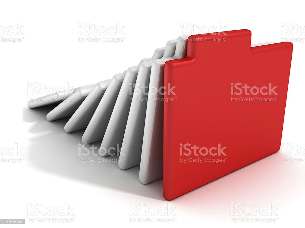 concept office document paper folders with red one royalty-free stock photo