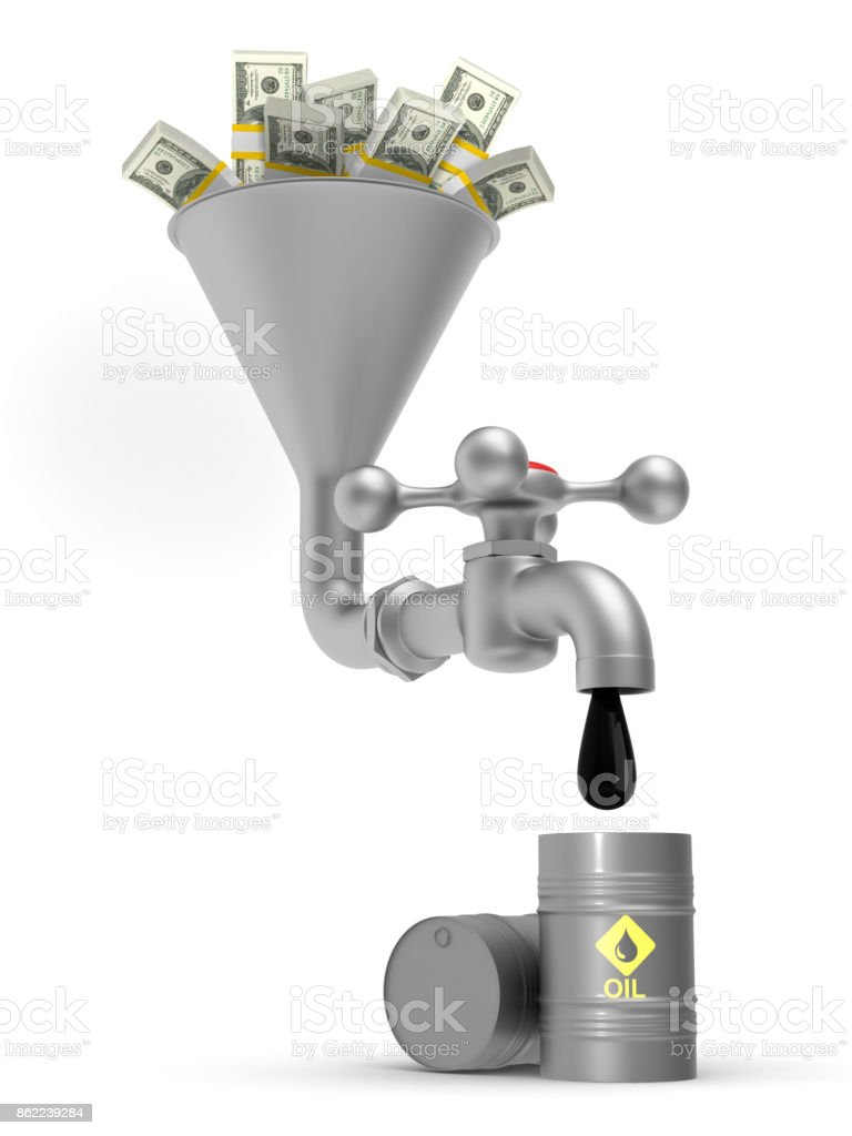 concept oil production on white background. Isolated 3D illustration stock photo