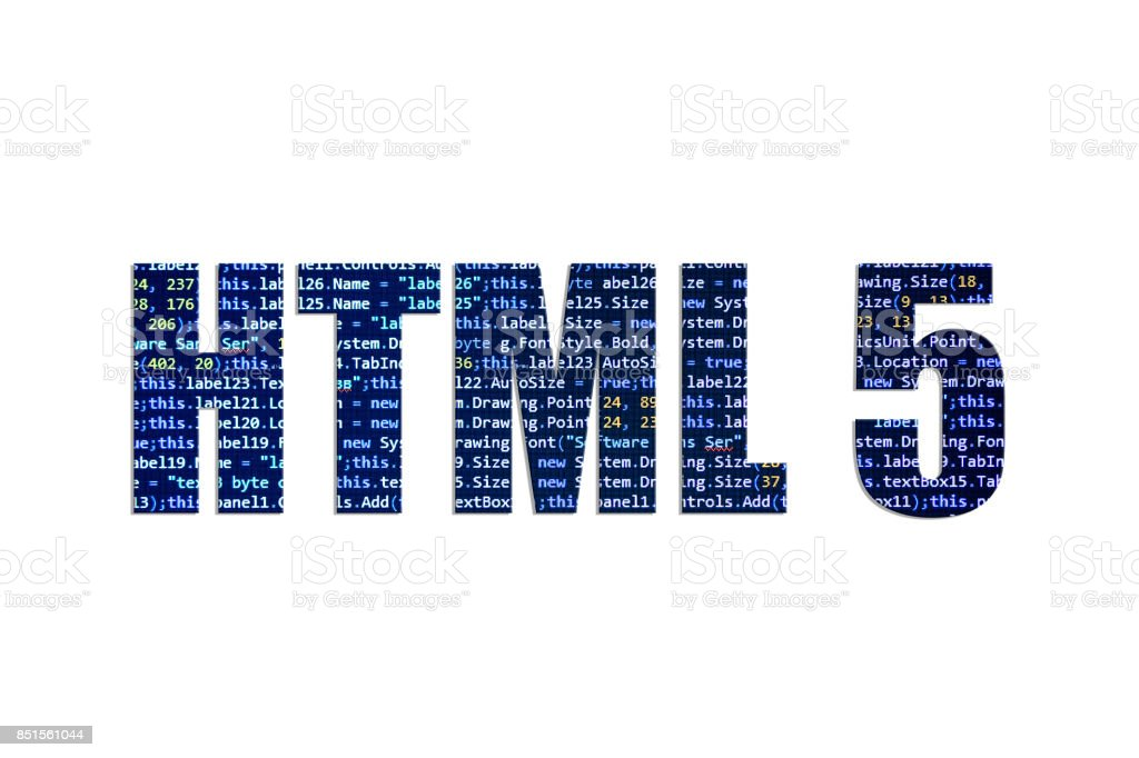 HTML 5 concept on a white background stock photo