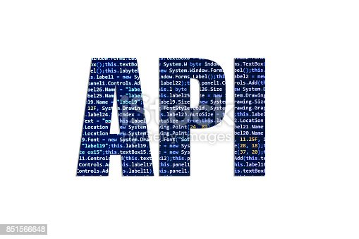 Application Program Interface concept written with beautiful letters made of source code.