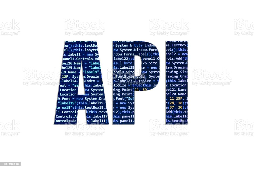 API concept on a white background stock photo