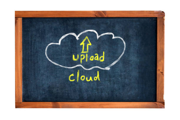 CLOUD - UPLOAD concept on Blackboard stock photo
