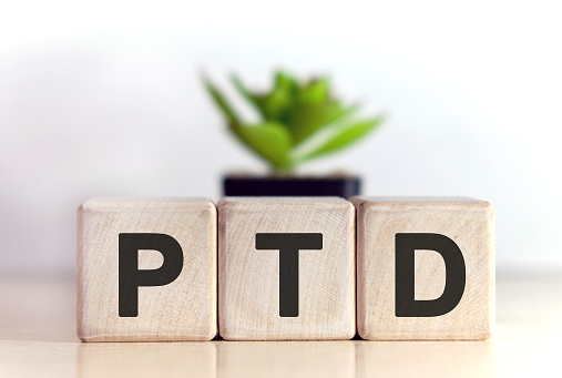 istock PTD concept on wooden cubes and flower in a pot in the background 1218432519