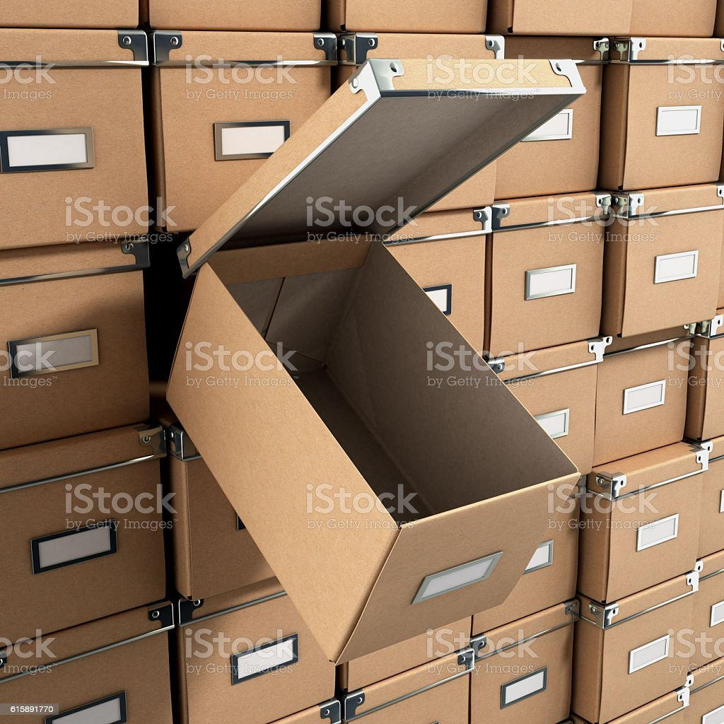 concept organization ofisnіe boxes as background with one open stock photo