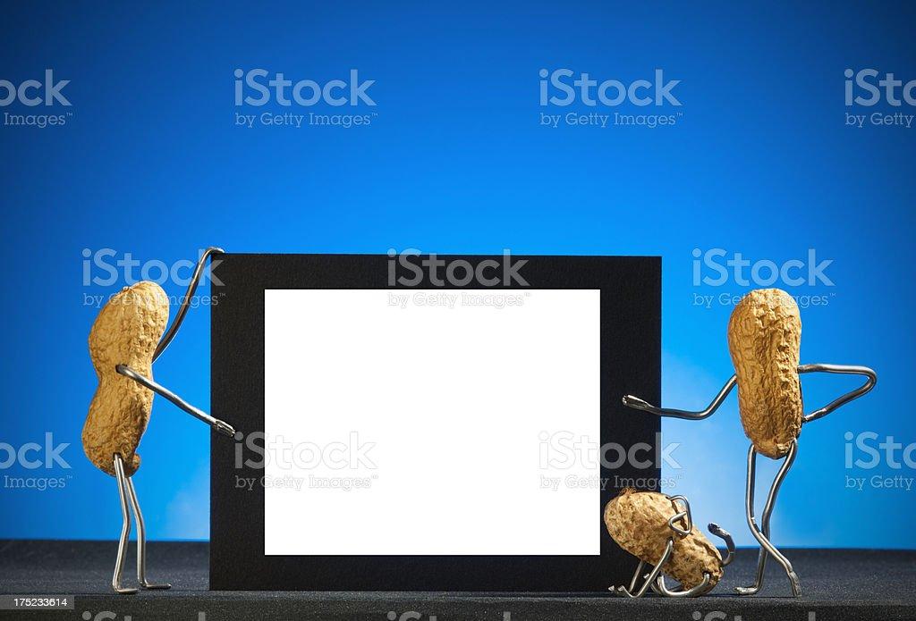 Concept peanut man-Blank advertising sign stock photo