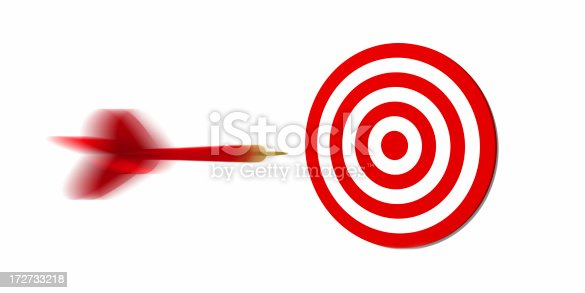 919544754 istock photo Concept photo of a red dart flying toward a target 172733218
