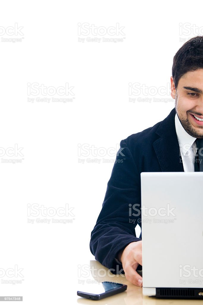 Concept photo of young business man working on lap top royalty-free stock photo