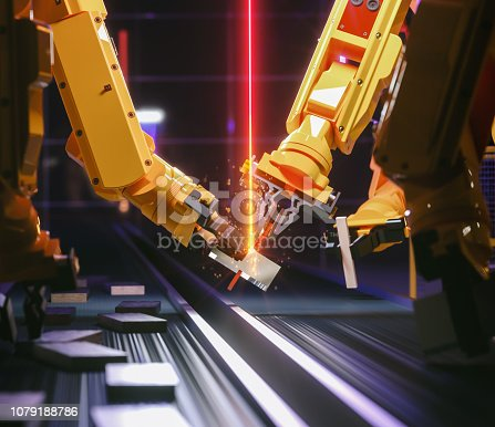 istock Smart automation industry robot in action - industry 4.0 concept 1079188786