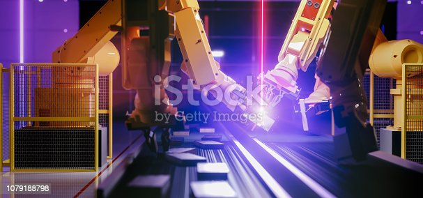 istock Smart automation industry robot in action - industry 4.0 concept 1079188798