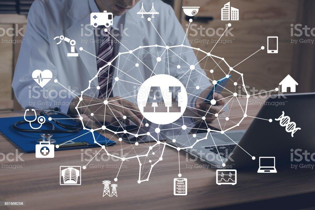 Conceito de AI (Inteligência Artificial). - foto de acervo