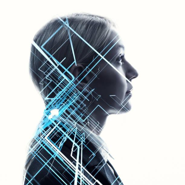 ki (künstliche intelligenz) konzept. - digital composite stock-fotos und bilder