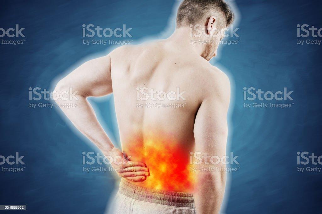 Konzeptbild Von Einem Mann Mit Schmerzen Im Unteren Rücken Stock ...
