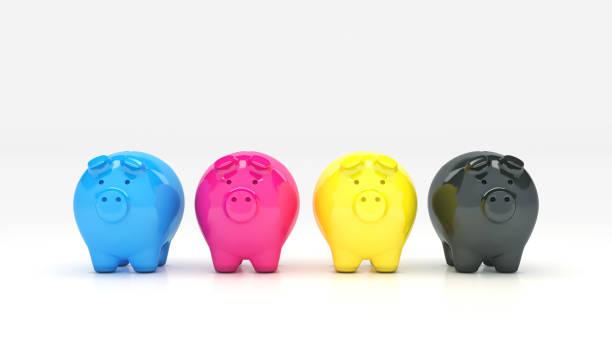 concept Piggy bank CMYK. 3d Rendering concept Piggy bank CMYK. 3d Rendering cmyk stock pictures, royalty-free photos & images