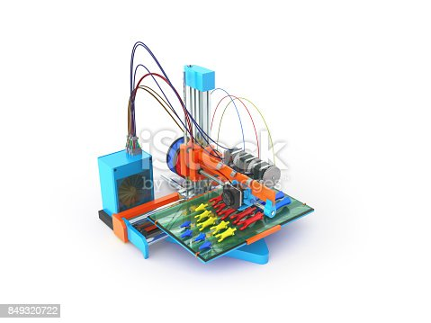 istock Concept print hand prosthesis on 3d printer 3d rendering on white background 849320722