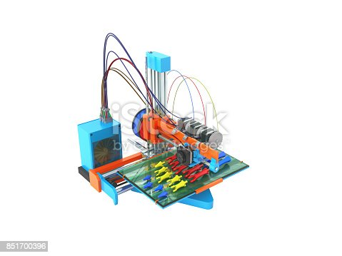 istock Concept print hand prosthesis on 3d printer 3d rendering on white background 851700396
