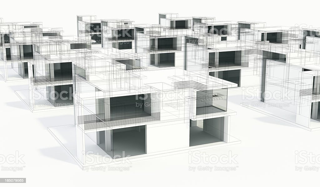 Concept Project Of Modern Houses 3d Model Wire Frame Rendering Stock ...