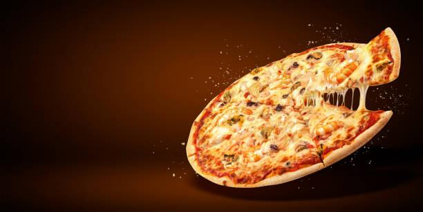 begreppet pr flyer och affisch för restauranger eller pizzerior, läcker smak skaldjur pizza - italy poster bildbanksfoton och bilder