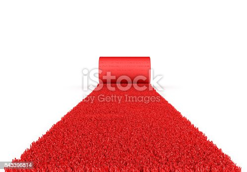 istock VIP concept. Red event carpet on a white background. 843396814