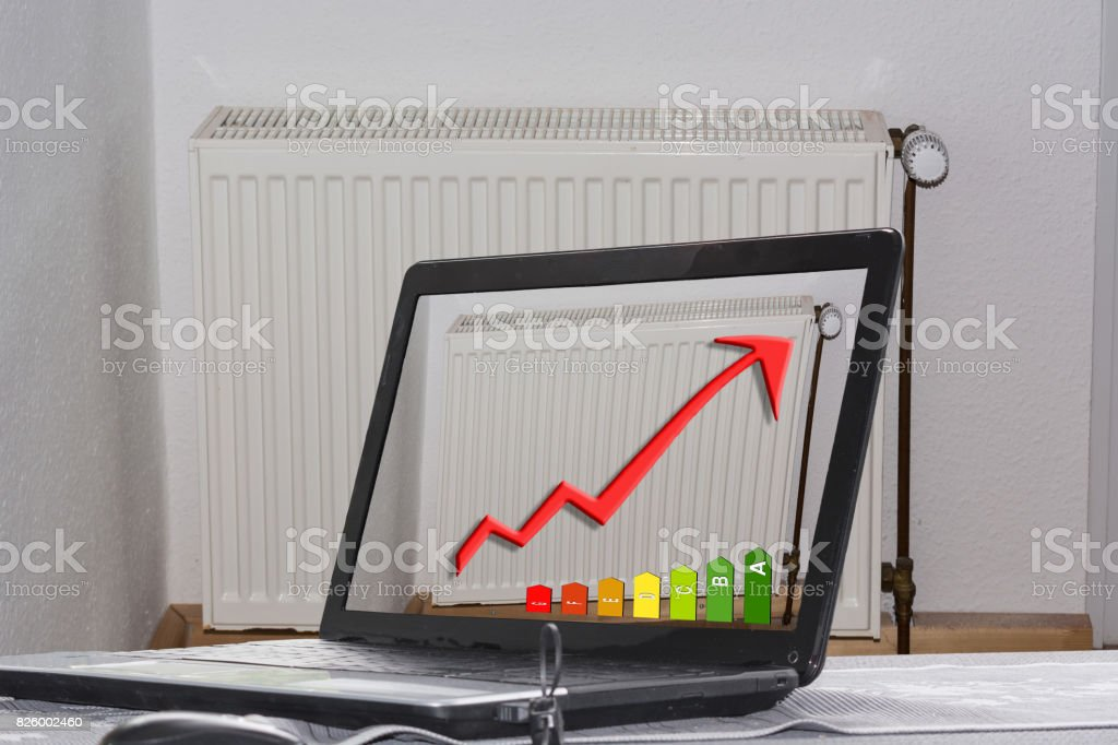 Concept Save heating costs stock photo